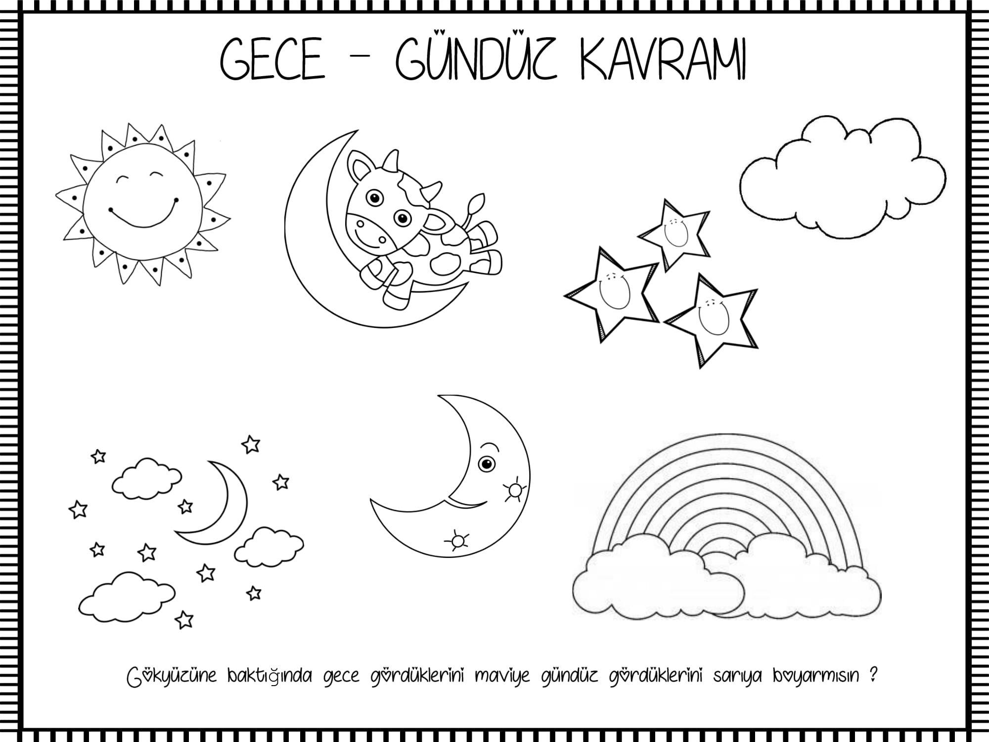 Gece Gunduz Kavrami Okul Oncesi Boyama Sayfalari Okul