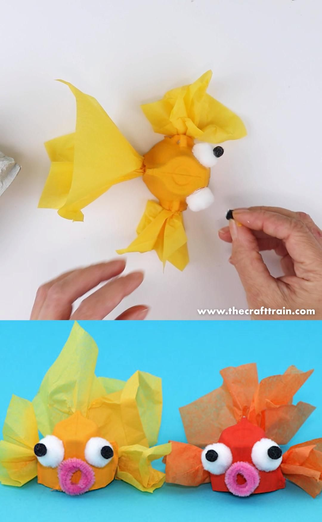 Egg carton goldfish craft