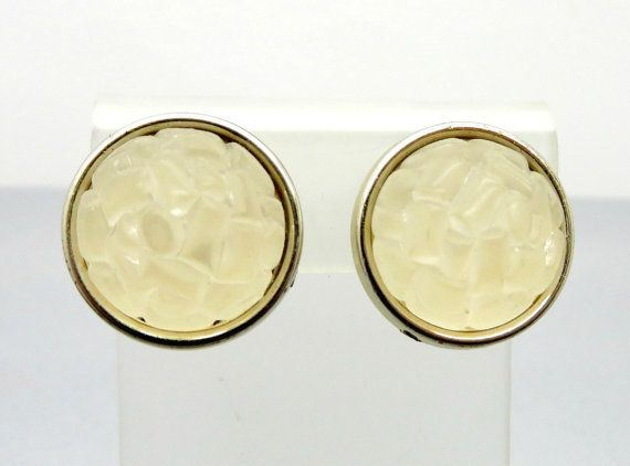 67628575e5f Wonderful  Gift Idea! Vintage West Germany Frosted White Bumpy Lucite Clip- on Earrings with comfort backs. These round earrings are on a silvertone  base ...