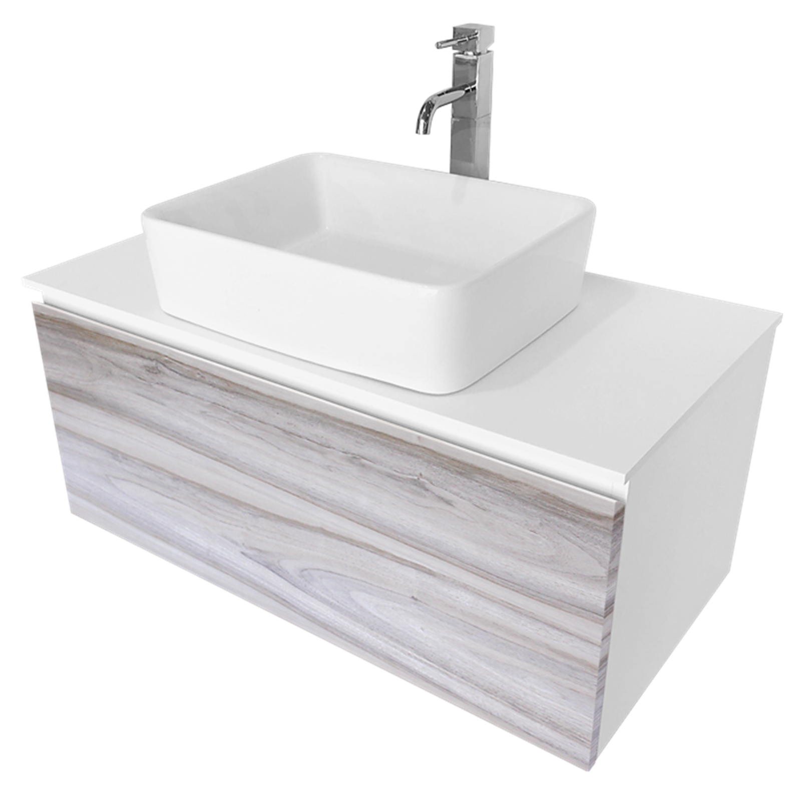 Cibo Design 900mm Cafe Oak Glee Vanity With White Counter Top Basin White Counters Vanity Bathroom Style