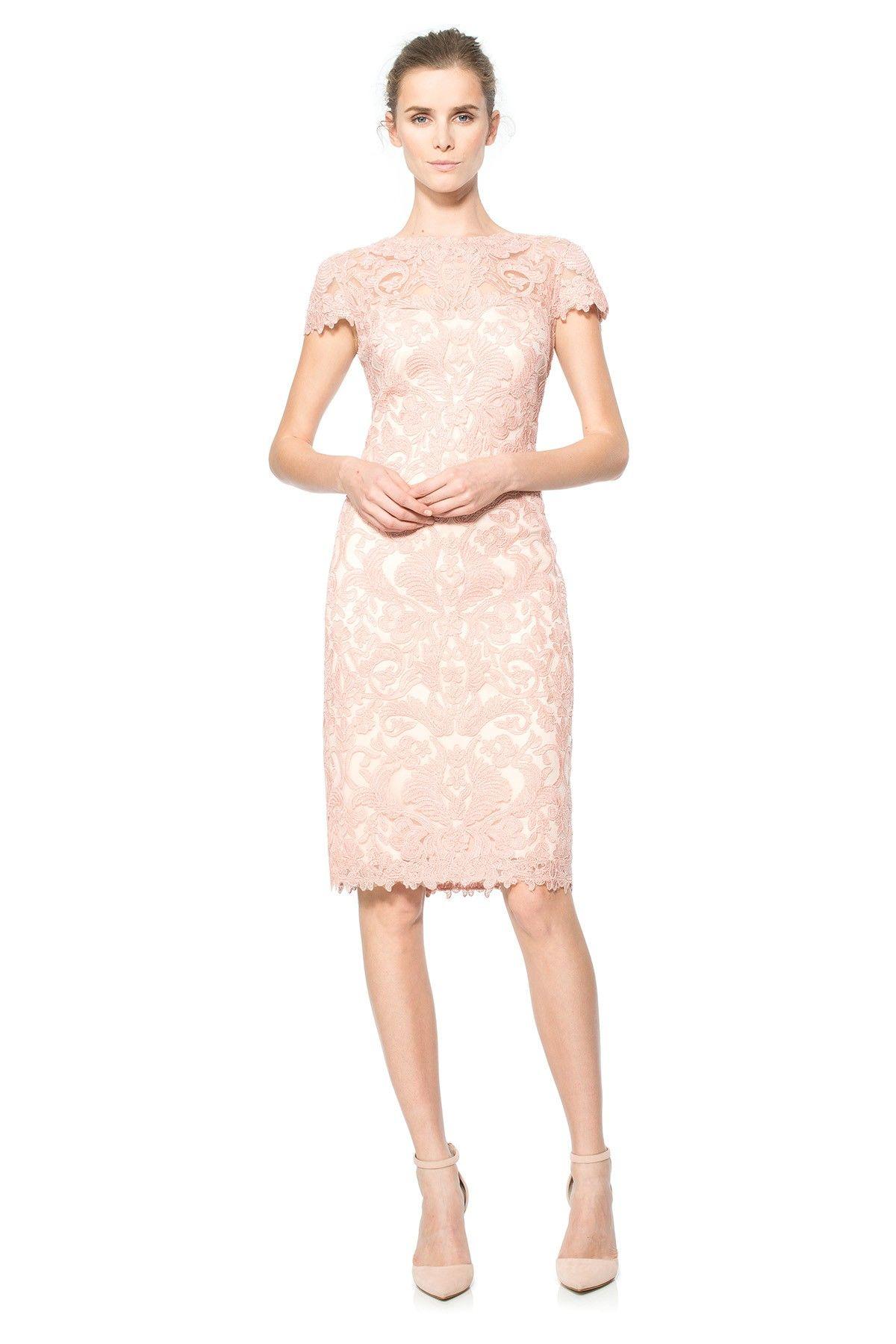 Tadashi Shoji Corded Embroidery On Tulle Cap Sleeve Dress