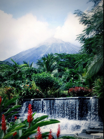 soak in the tabacon hot springs while taking in the view of arenal volcano near la fortuna and lake arenal in costa rica!