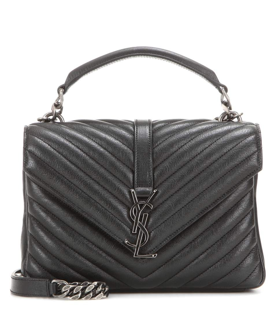 Leather quilted handbags and purses - Coll Ge Monogram Medium Black Quilted Leather Shoulder Bag