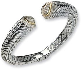 Lesofgold Sterling Silver And 14k Gold Diamond Hinged Bangle Bracelet Jewelry 575 00