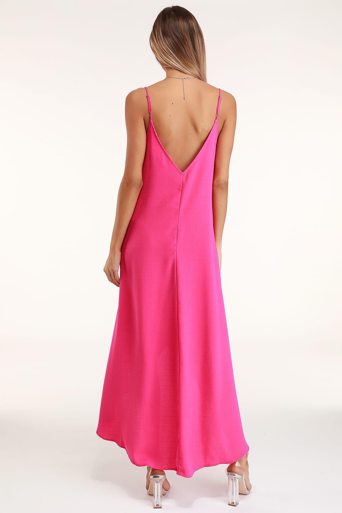 Sweet Surprise Bright Pink High Low Maxi Dress High Low Maxi Dress Bright Pink Dresses Bright Pink Maxi Dress