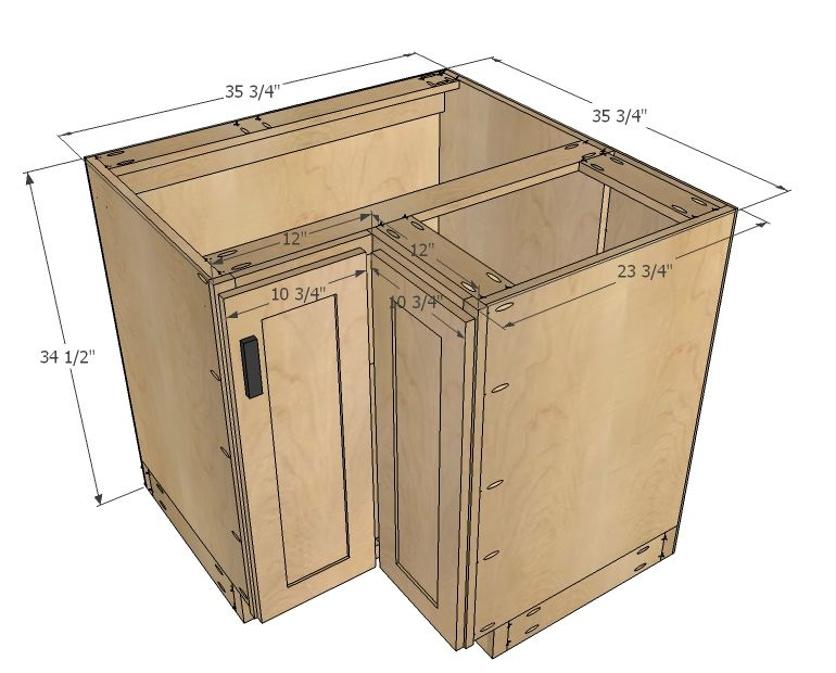 "Ana White Build A 36"" Corner Base Easy Reach Kitchen Cabinet"