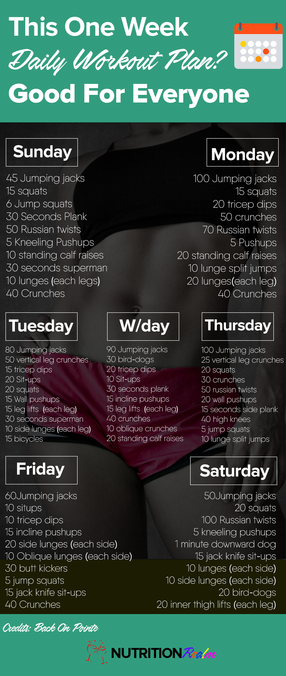 One Week Daily Workout Plan That Works For Anyone
