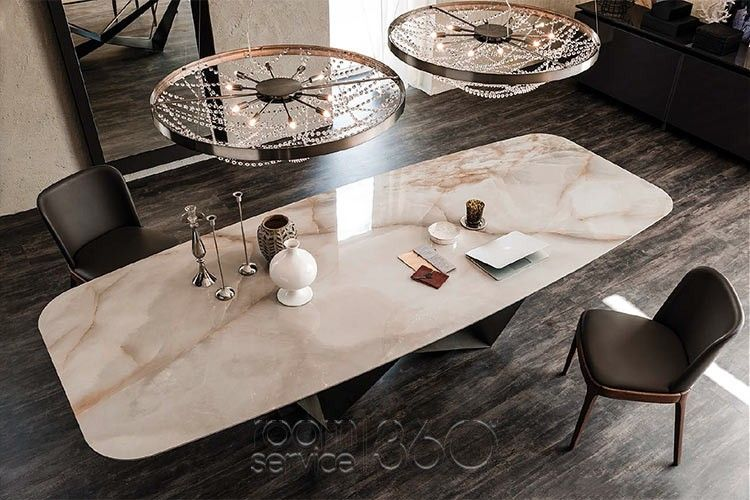 Skorpio Keramik Table With Alabastro Marmi Ceramic Barrel Top By