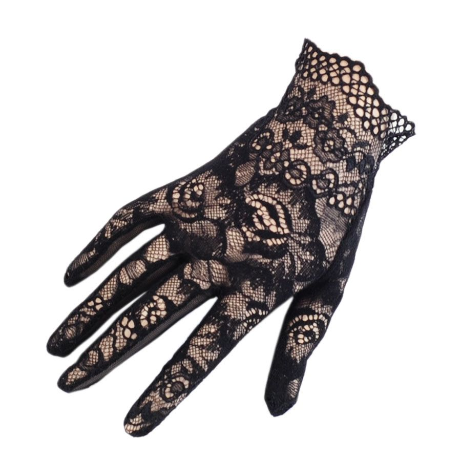 Black gloves evening wear - Gloves Home Short Black Lace Scalloped Gloves