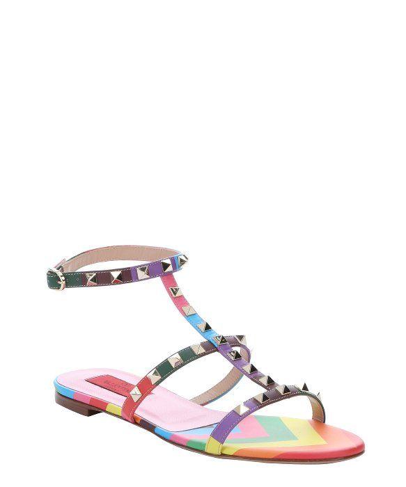 1306ba0f320e Valentino rainbow multi-color leather  Rockstud 1973  t-strap sandals