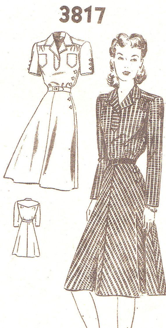 1940s Dress Pattern Fashion Service 3817 Day Dress with Convertible Collar Mail Order Sewing Pattern Bust 30
