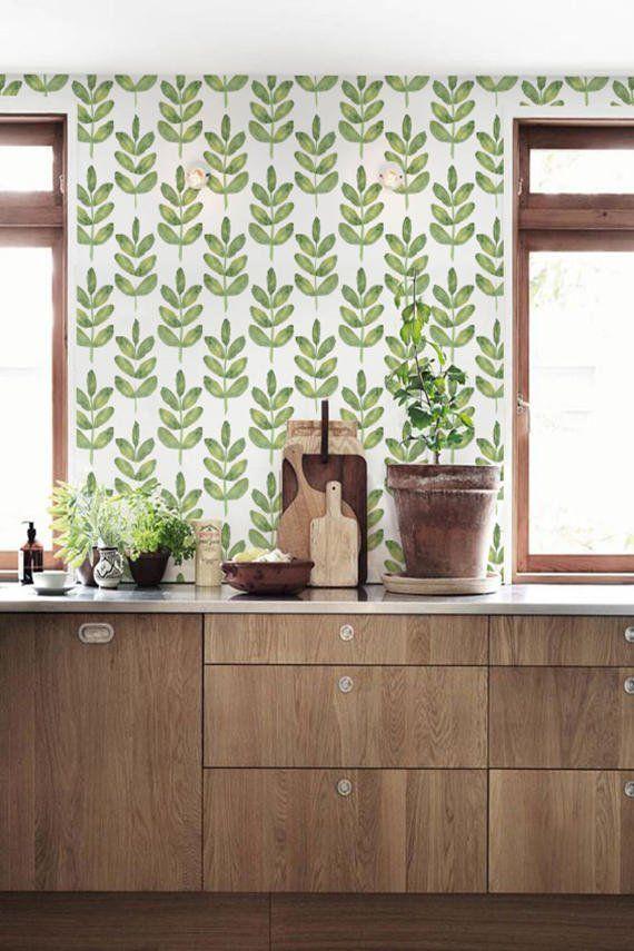 Walnut Leaves Patterned Temporary Wallpaper Green Leaf Ers L Stick W