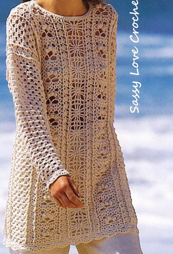 Crochet Tunic Top Cover-up Long Sleeve Pattern by SassyloveCrochet ...