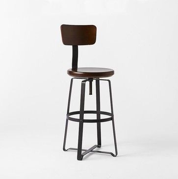 Superior Adjustable Industrial Stool With Back   Industrial   Bar Stools And Counter  Stools   West Elm