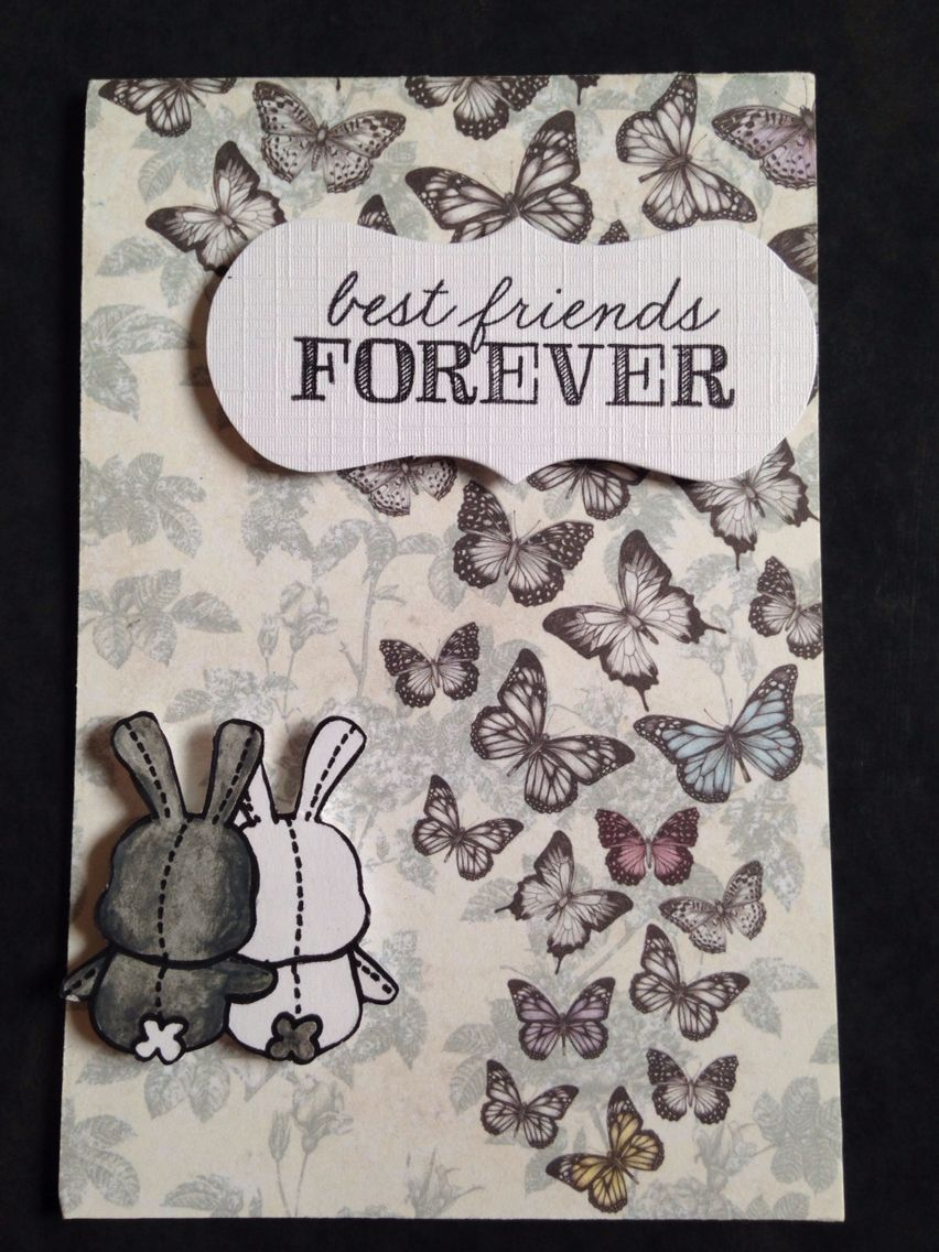 Handmade card best friends forever bunny Easter card | My handmade