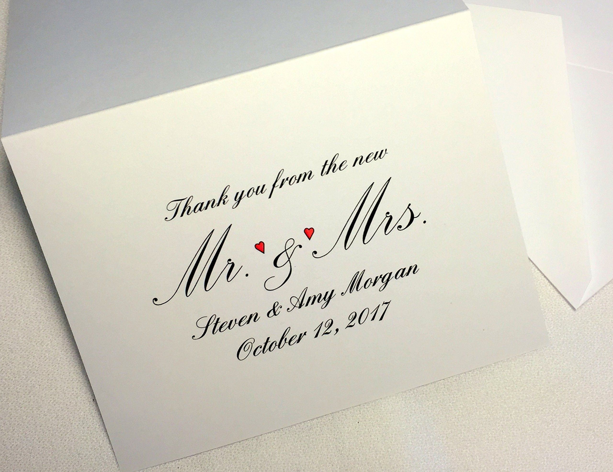 50 personalized wedding thank you note cards stationery
