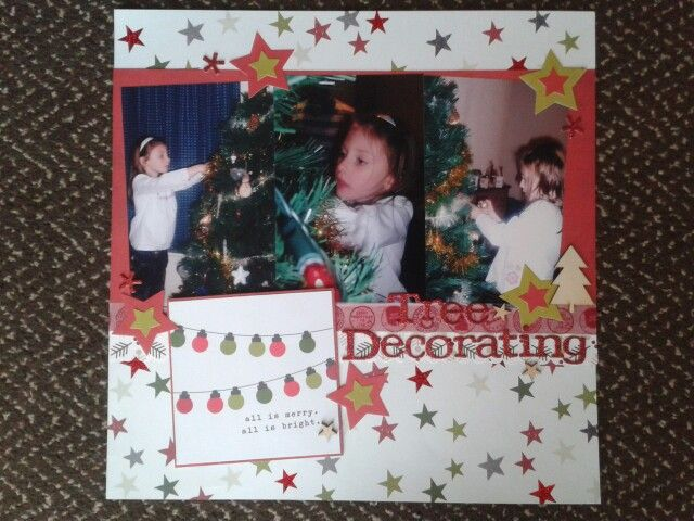 Tree decorating using simple stories claus & co  #scrapbooking #12x12layout #christmaslayout