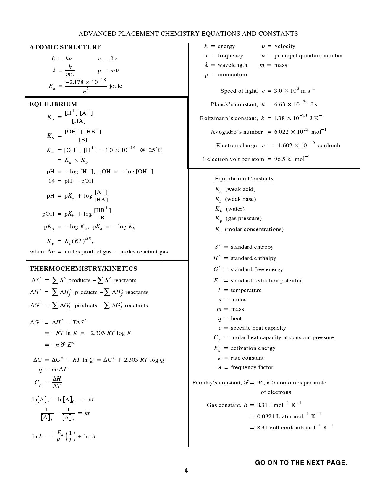 Chemistry Equations And Constants Chemistry Basics Physics And Mathematics Equations