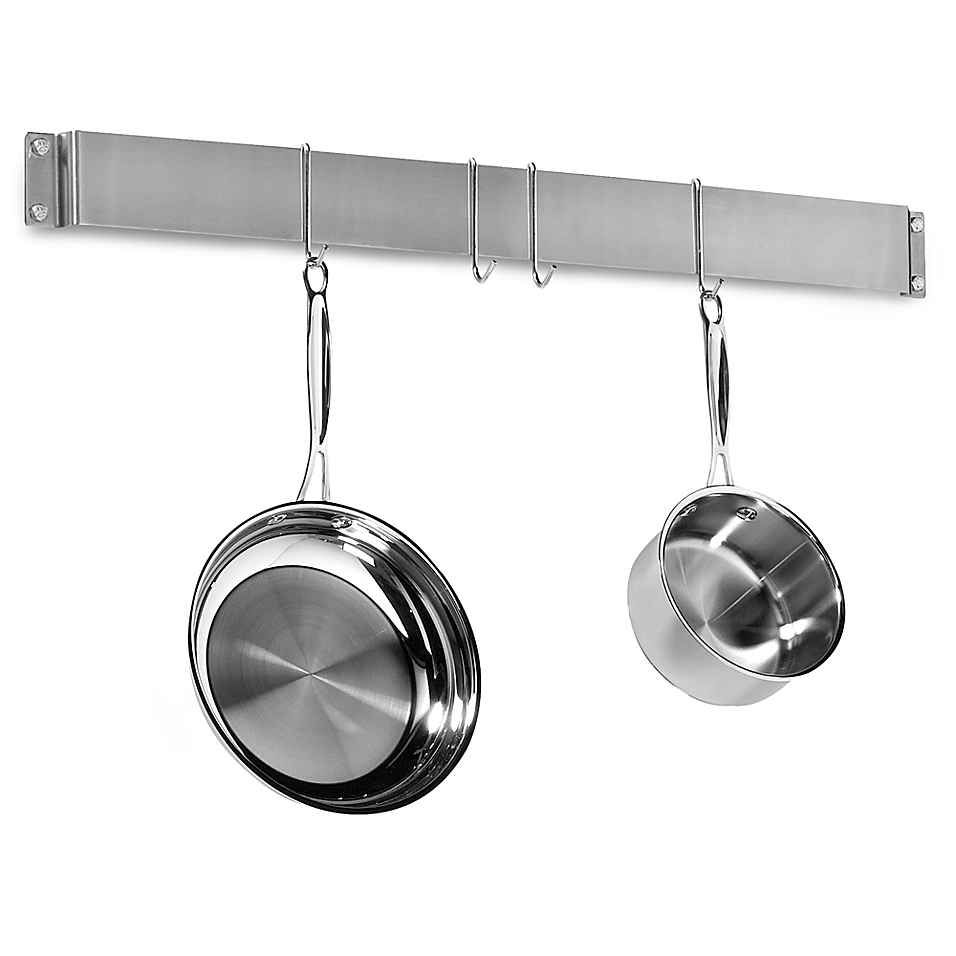 Cuisinart® Brushed Stainless Steel Wall Bar Pot Rack | Tiny21 ...