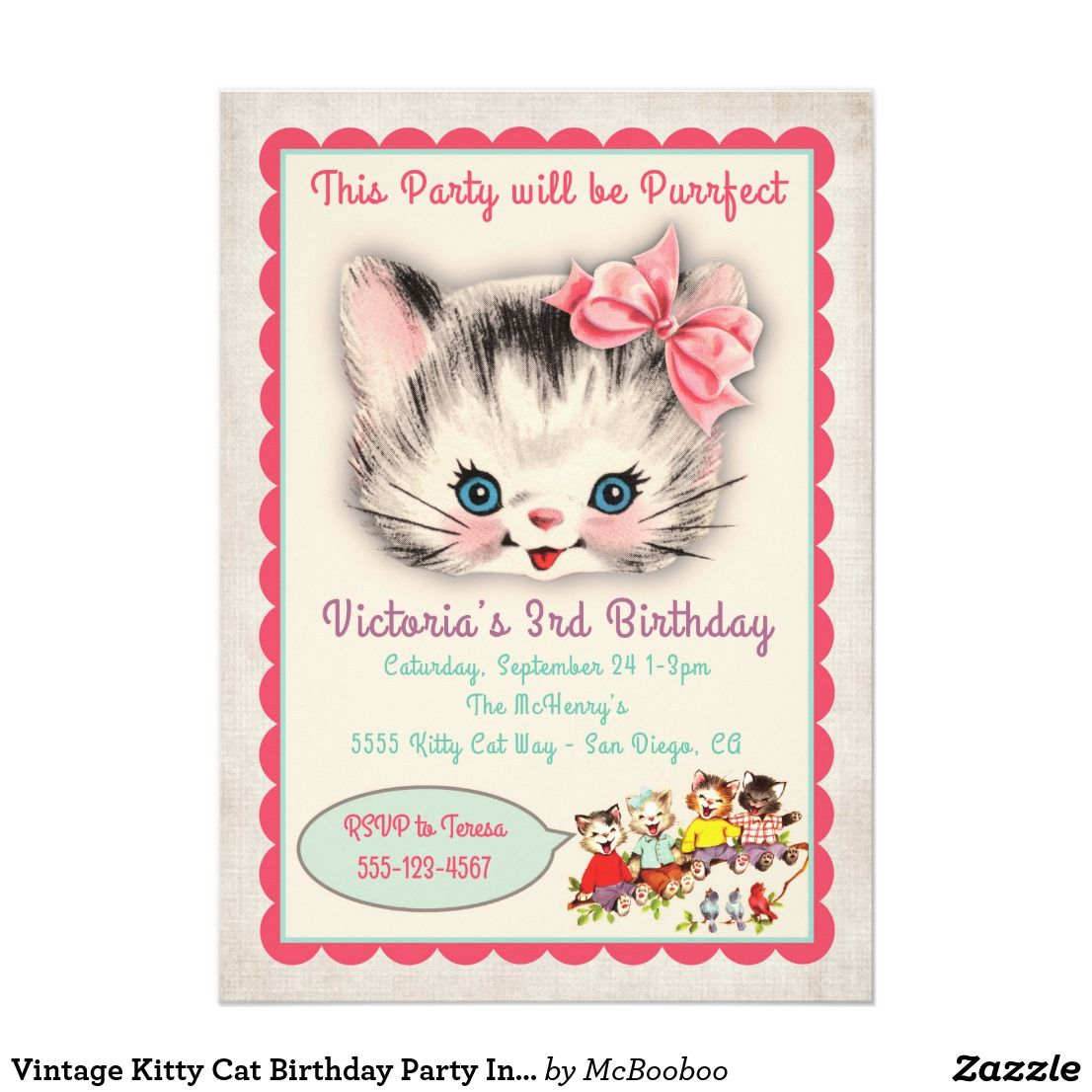 Vintage Kitty Cat Birthday Party Invitation | Kid\'s Birthdays ...