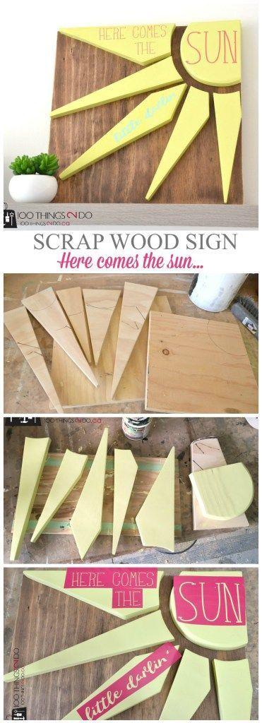 Scrap Wood Sign Here Comes The Sun Diy Scrap Wood