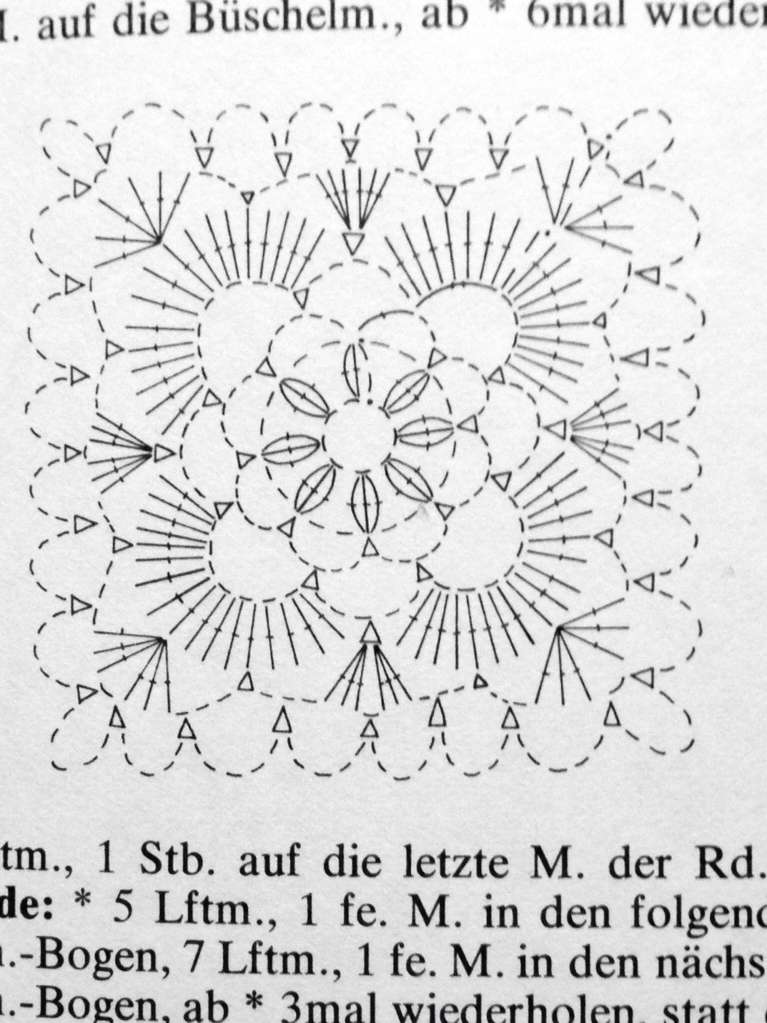 Crochet Motif Diagram Flower Crocheted Patterns Motives Scheme