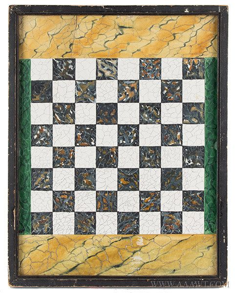 Antique Gameboard, Marbleized Surface, Original Paint, 19th Century, entire view