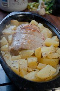 roti de porc miel thym vin blanc