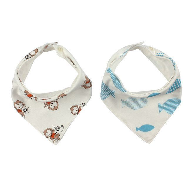 2 Pieces Triangle Double Layers Baby Bandana Bib