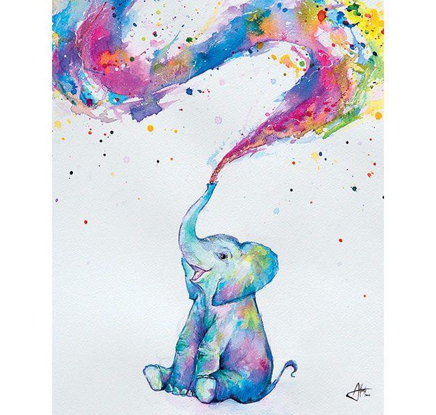 Baby Elephant Poster Spring Elefant Malen Elefant Aquarell Und