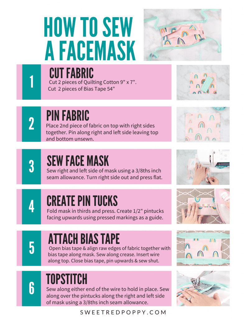 Learn How To Easily Sew A Surgical Face Mask With Ties In 2020 Bias Tape Diy Face Mask Sewing