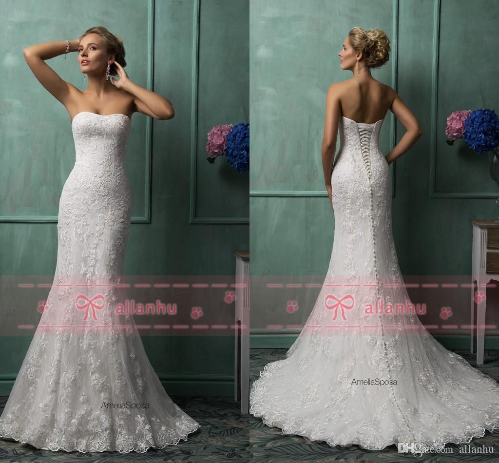 amelia sposa ivory strapless full lace corset back wedding dresses 2015 backless button chapel train mermaid