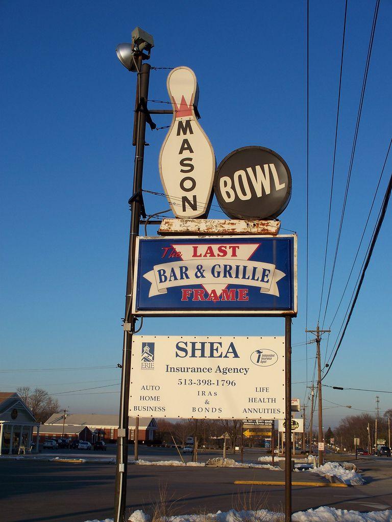 OH Mason Mason Bowl Outdoor signage, Old signs