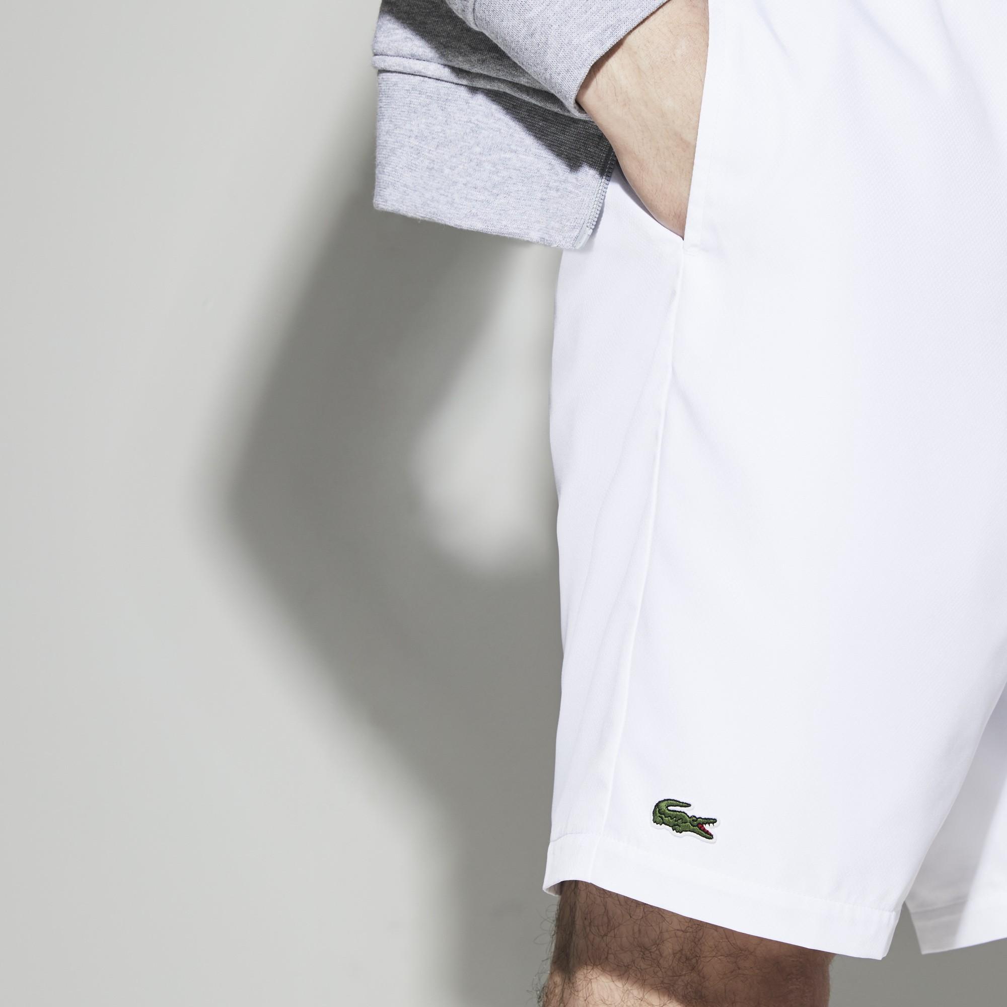 f38d09b958c04 Lacoste Men s Sport Tennis Shorts In Solid Diamond Weave Taffeta - Graphite  Grey 5 Green
