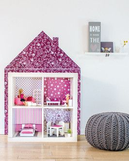 Kallax dollhouse.  Maybe put doors on it to decorate like outside of house