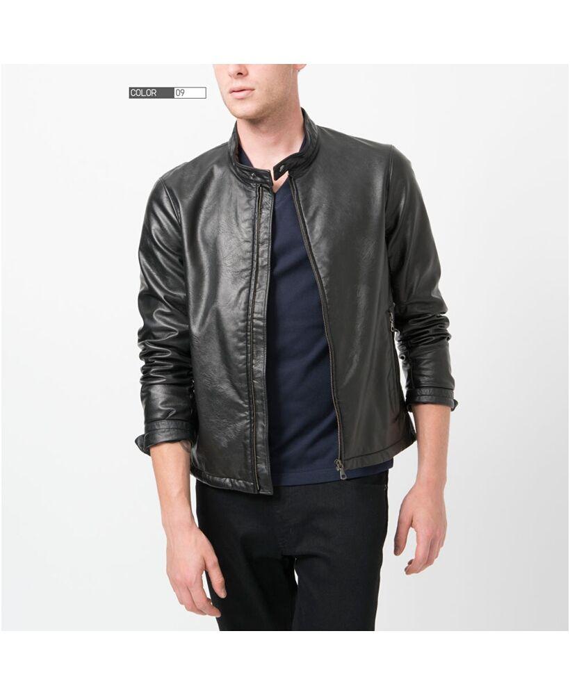 Leather jacket uniqlo - Men Faux Leather Bikers Jacket Uniqlo