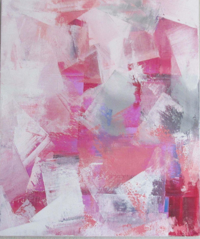 Peinture moderne acrylique et mati re blanc rose rouge gris sur ch ssis toile coton 55 x 46 for Peinture gris rouge
