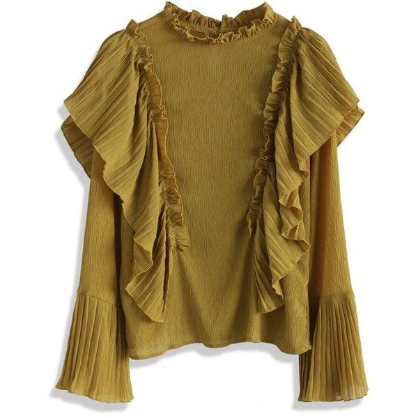 Chicwish Retro Creases and Frills Top in Mustard (€39) ❤ liked on Polyvore featuring tops, blouses, yellow, retro blouses, dressy tops, flutter-sleeve top, cut out blouse and yellow ruffle blouse
