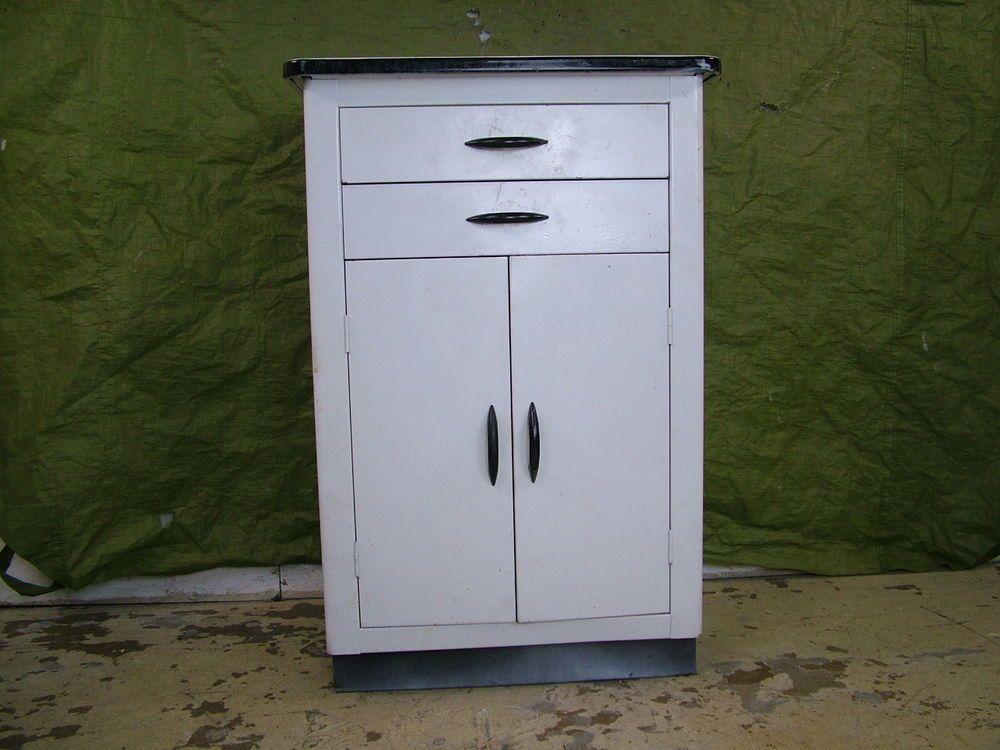 Vintage 1950s Porcelain Enamel Top Metal Kitchen Shop Cabinet Work Storage