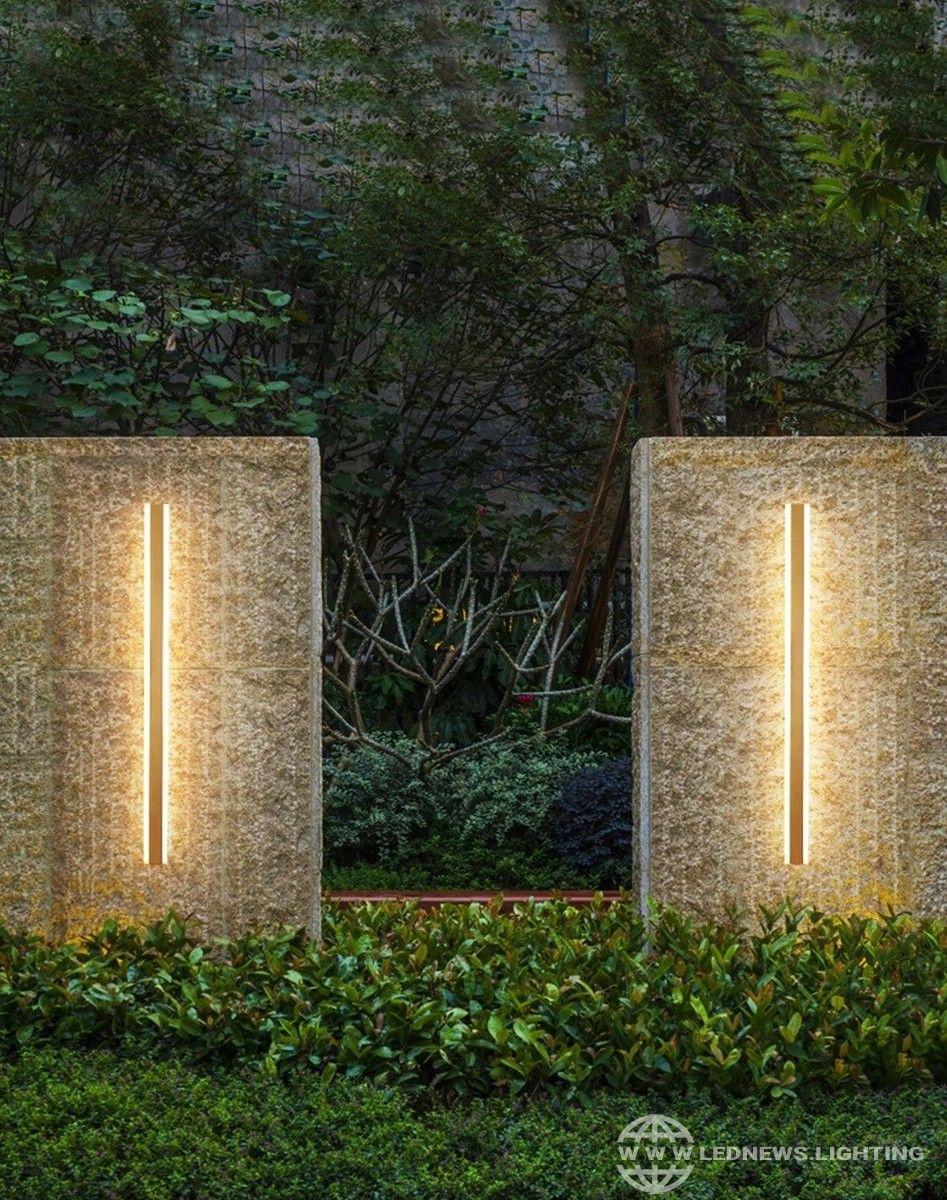 Modern Ip65 Waterproof Outdoor Lights Stainless Steel Long Led Wall Lamp Gold Light Garden Modern Outdoor Lighting House Outdoor Lighting Outdoor Wall Lighting