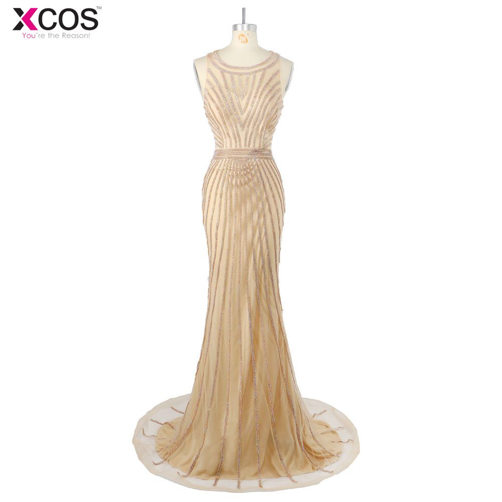 Click to buy ucuc beaded mermaid prom dresses small train sexy