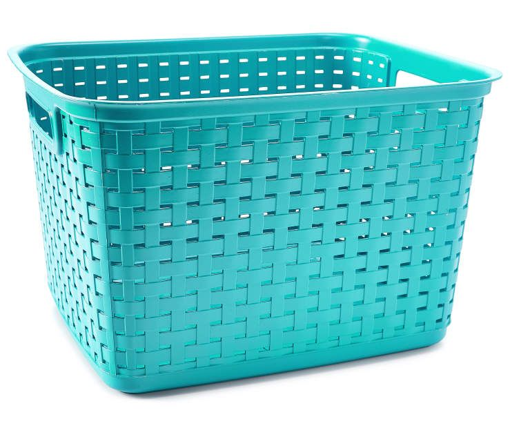 Sterilite Tall Teal Weave Basket Tall Storage Baskets Storage
