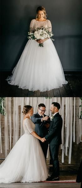 Amazing Half Sleeves Beading Top Long tulle Wedding Dresses, WD0439