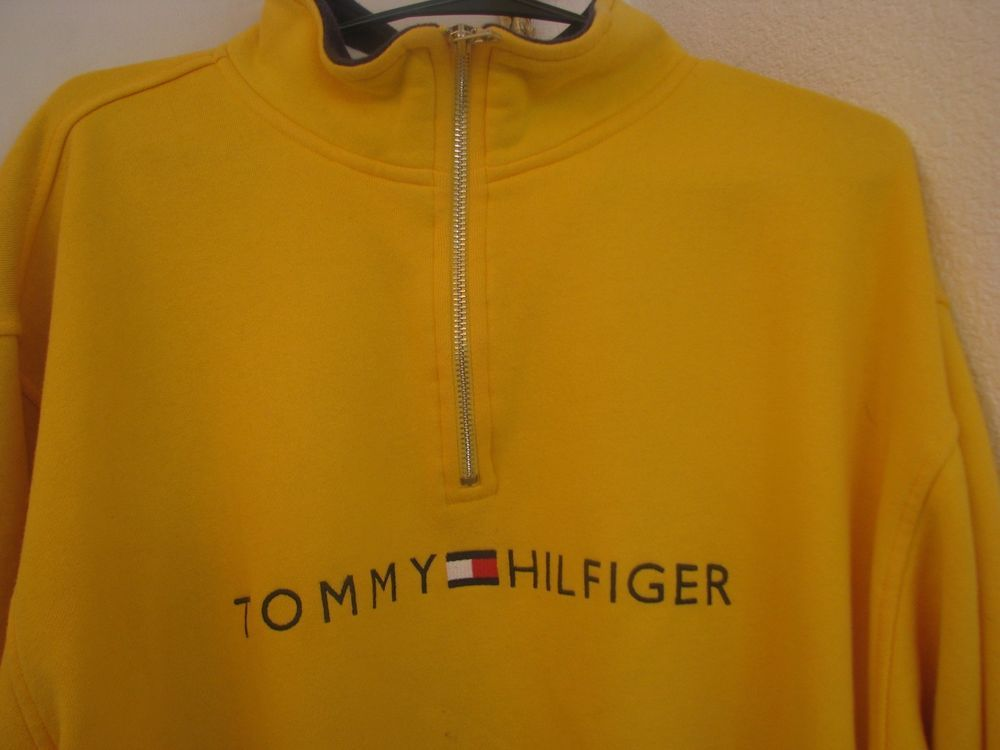 Tommy Hilfiger Men's Vintage Yellow Long Sleeve 1/4 Zip Pullover ...