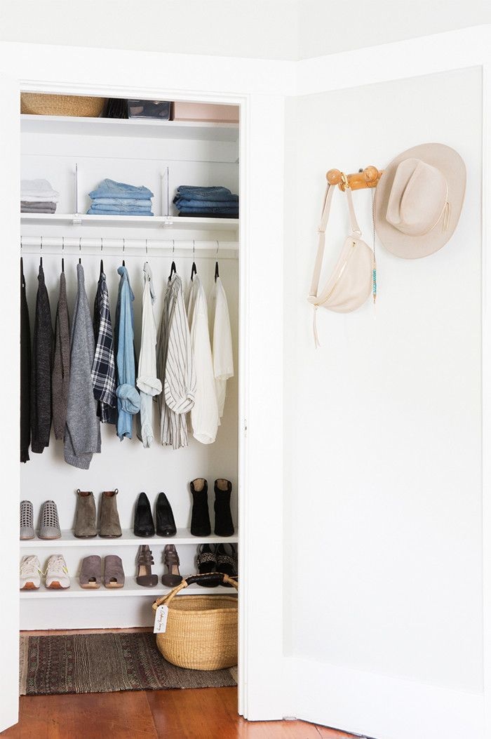 How to Actually Fit All Your Clothes in a Tiny Closet | Small closets, Tiny closet, Minimalist