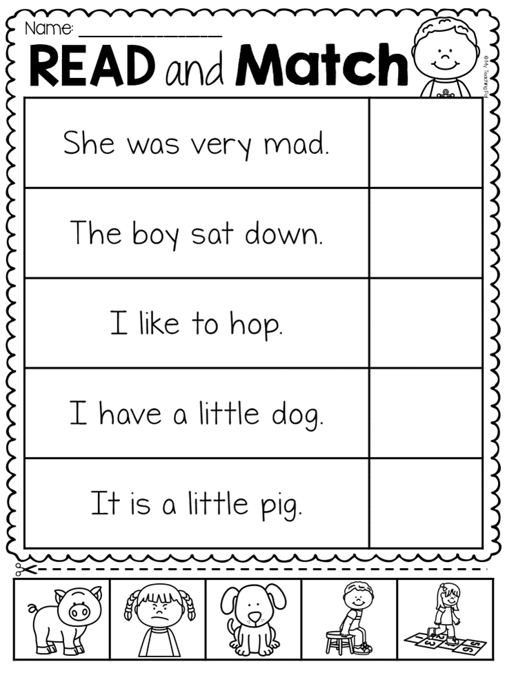 Read and Match Worksheet Pack | TpT Language Arts Lessons ...