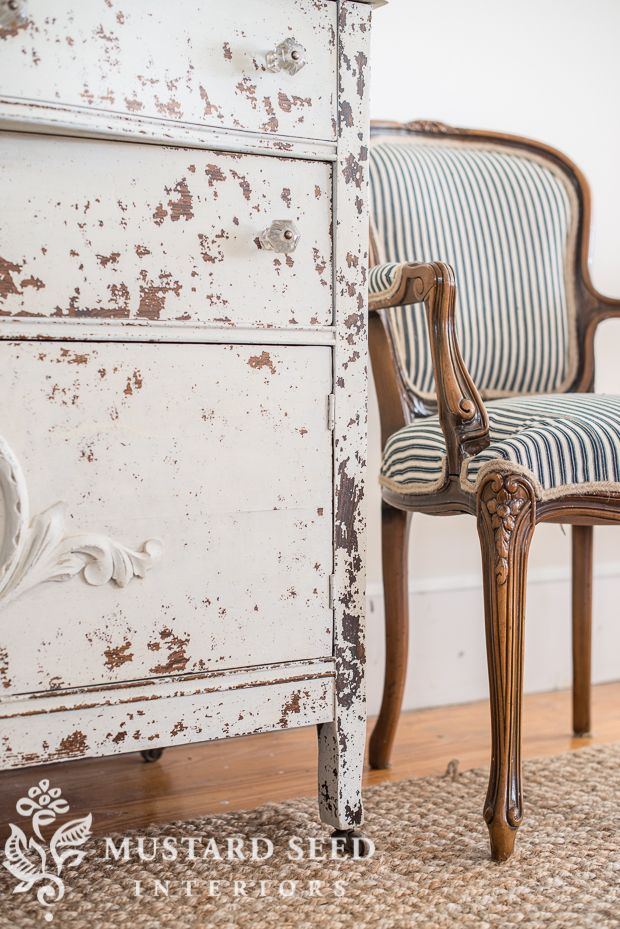 Love This Vintage Chair Upholstered In Blue And White Stripe Ticking  Fabric. | Miss Mustard