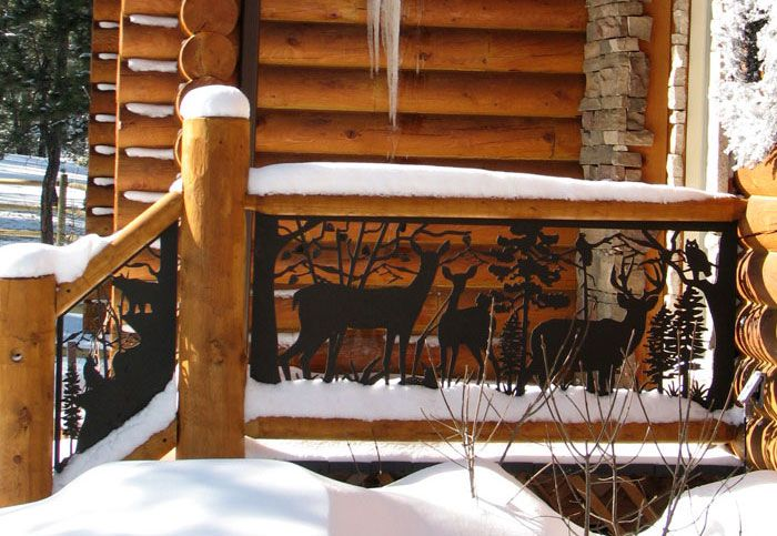 Exterior #Railing Of Deer Is Stunning On This Log Home Front Entrance.  Powder