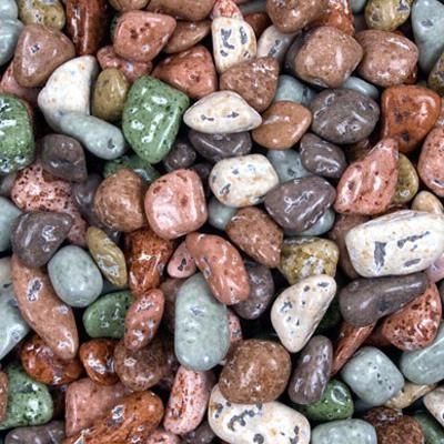 Different colored rocks.
