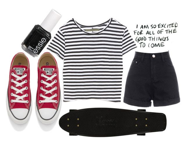 """"""":)"""" by freedom2095 ❤ liked on Polyvore featuring Enza Costa, Converse and Essie"""